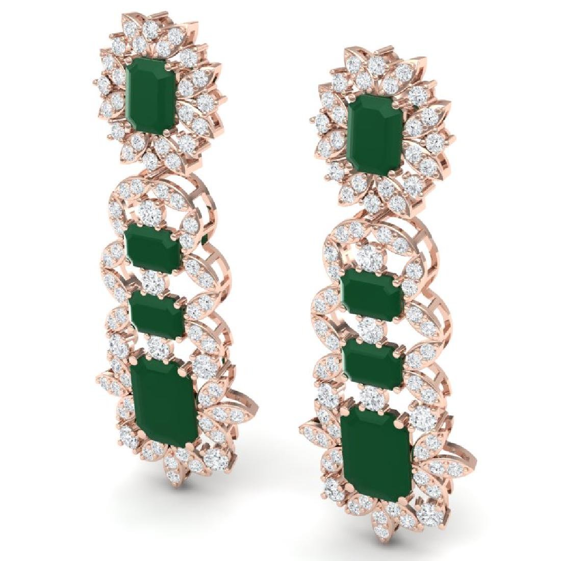 30.25 CTW Royalty Emerald & VS Diamond Earrings 18K - 2