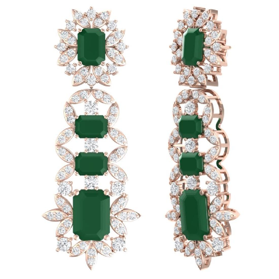 30.25 CTW Royalty Emerald & VS Diamond Earrings 18K - 3