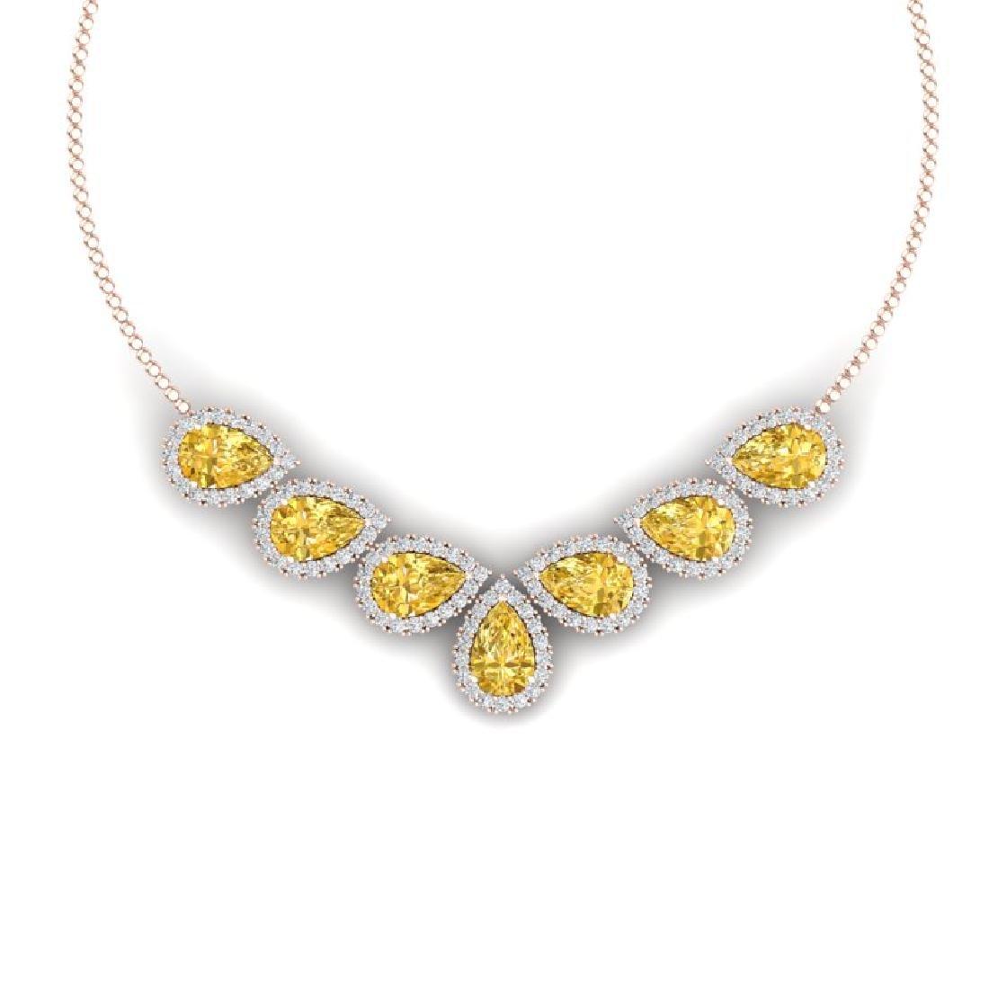 33.34 CTW Royalty Canary Citrine & VS Diamond Necklace
