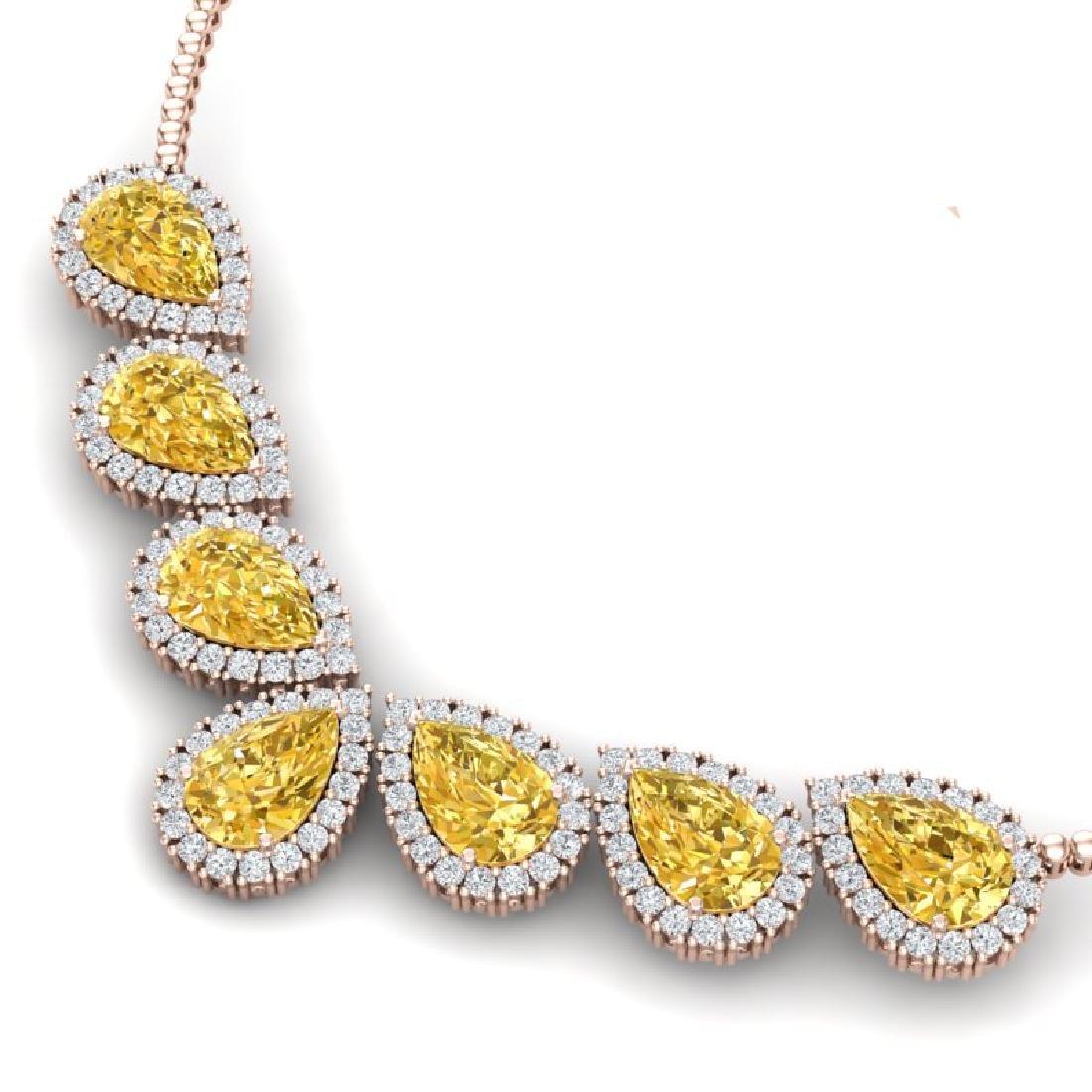 33.34 CTW Royalty Canary Citrine & VS Diamond Necklace - 2
