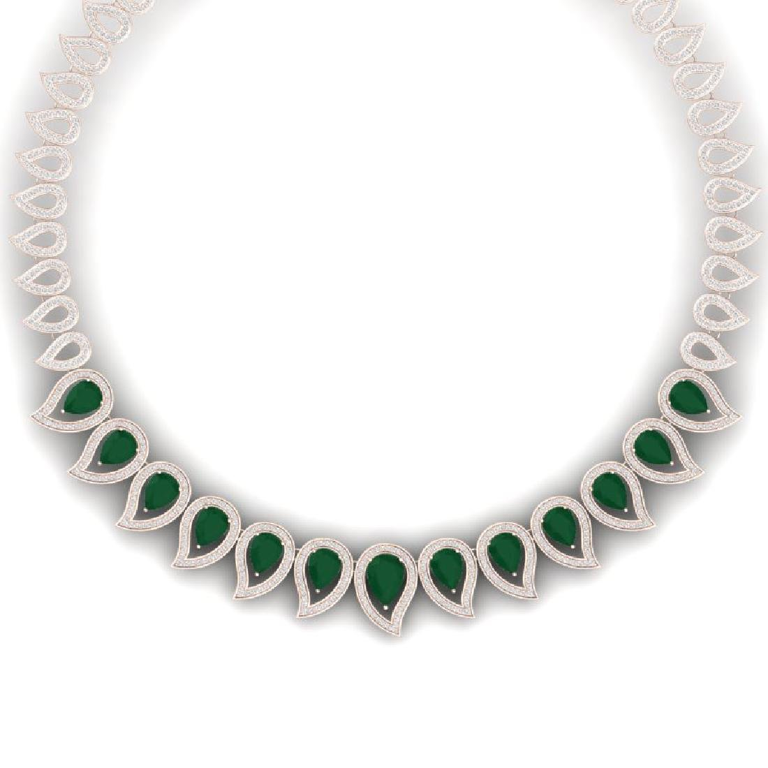 33.4 CTW Royalty Emerald & VS Diamond Necklace 18K Rose