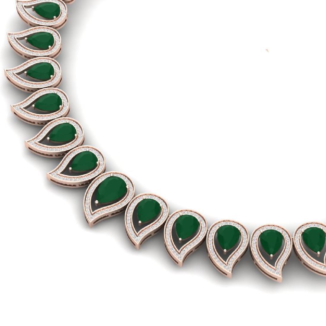 33.4 CTW Royalty Emerald & VS Diamond Necklace 18K Rose - 2