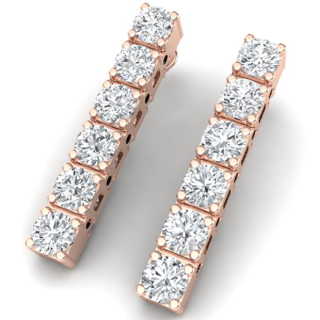 6 CTW Certified SI Diamond Earrings 18K Rose Gold