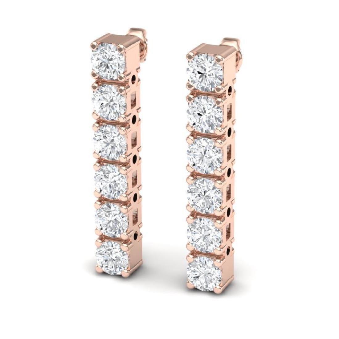 6 CTW Certified SI Diamond Earrings 18K Rose Gold - 2