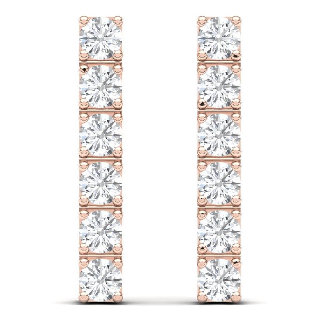 6 CTW Certified SI Diamond Earrings 18K Rose Gold - 3