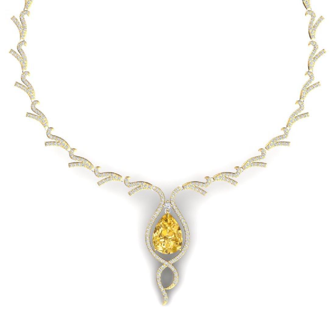 23.02 CTW Royalty Canary Citrine & VS Diamond Necklace