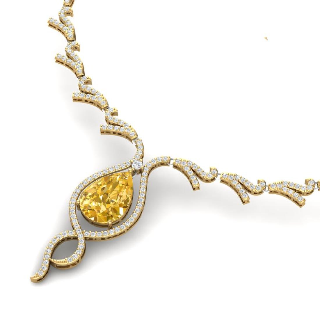 23.02 CTW Royalty Canary Citrine & VS Diamond Necklace - 2