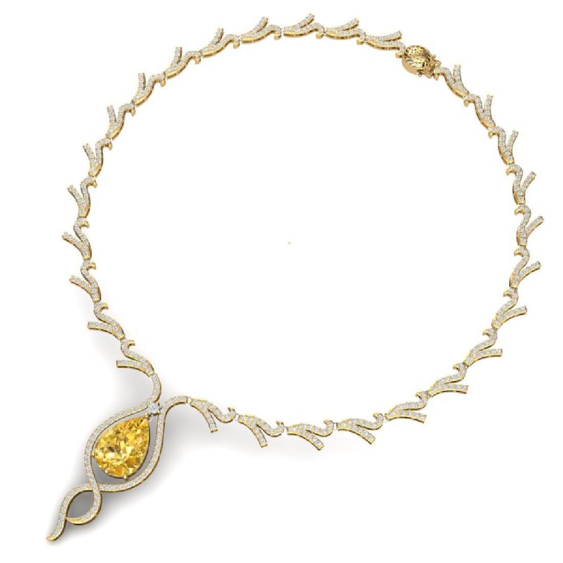 23.02 CTW Royalty Canary Citrine & VS Diamond Necklace - 3