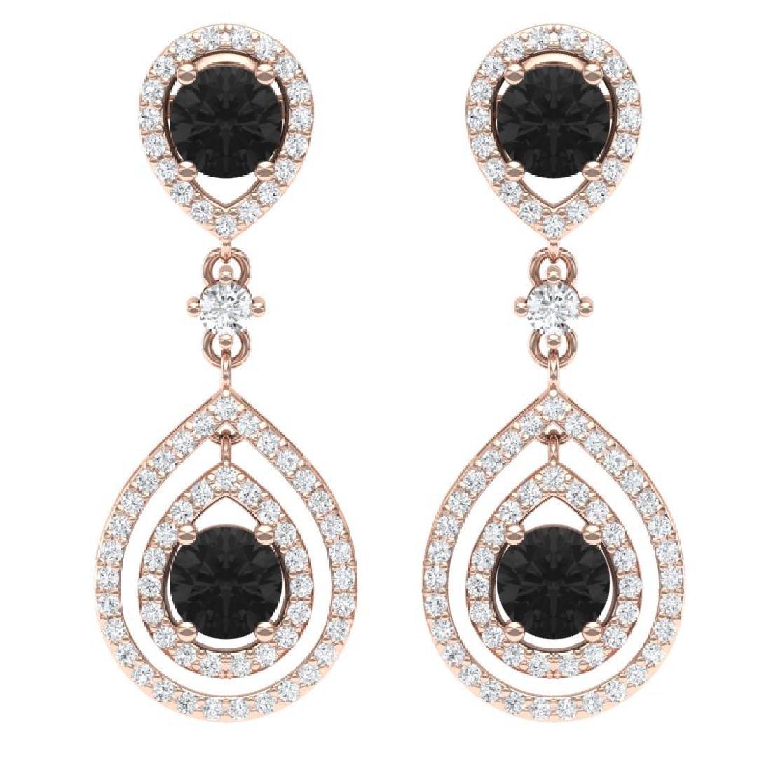 3.62 CTW Certified Black VS Diamond Earrings 18K Rose