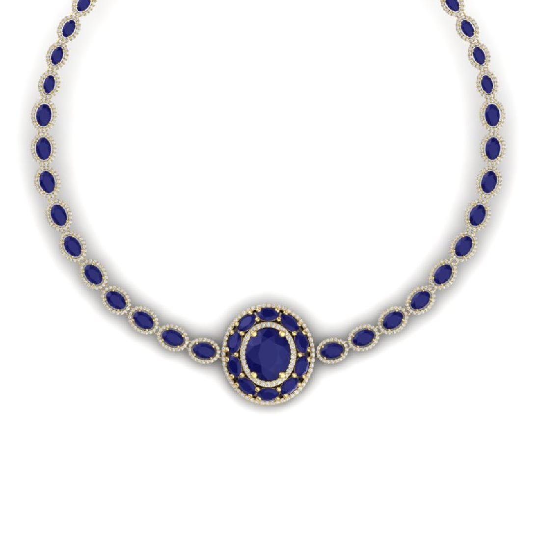 43.54 CTW Royalty Sapphire & VS Diamond Necklace 18K - 2