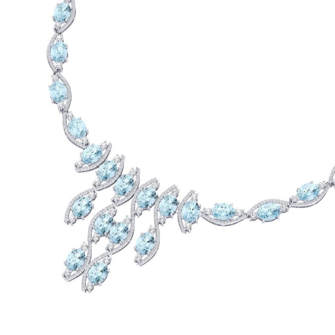 68.12 CTW Royalty Sky Topaz & VS Diamond Necklace 18K