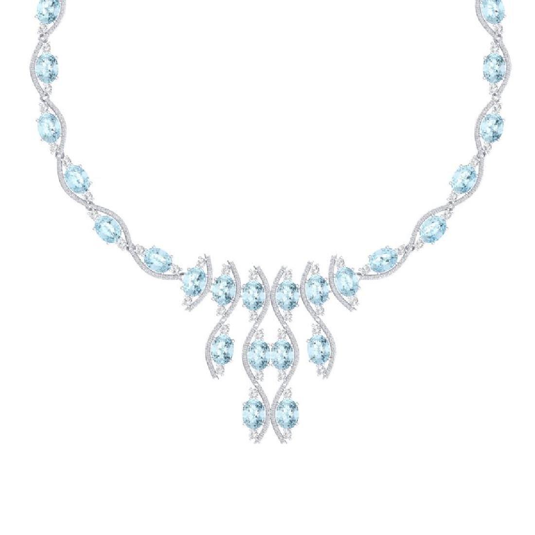 68.12 CTW Royalty Sky Topaz & VS Diamond Necklace 18K - 2