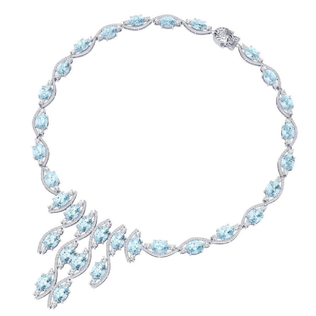 68.12 CTW Royalty Sky Topaz & VS Diamond Necklace 18K - 3