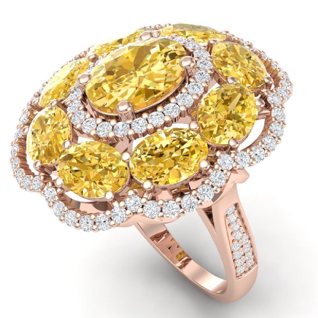 13.71 CTW Royalty Canary Citrine & VS Diamond Ring 18K