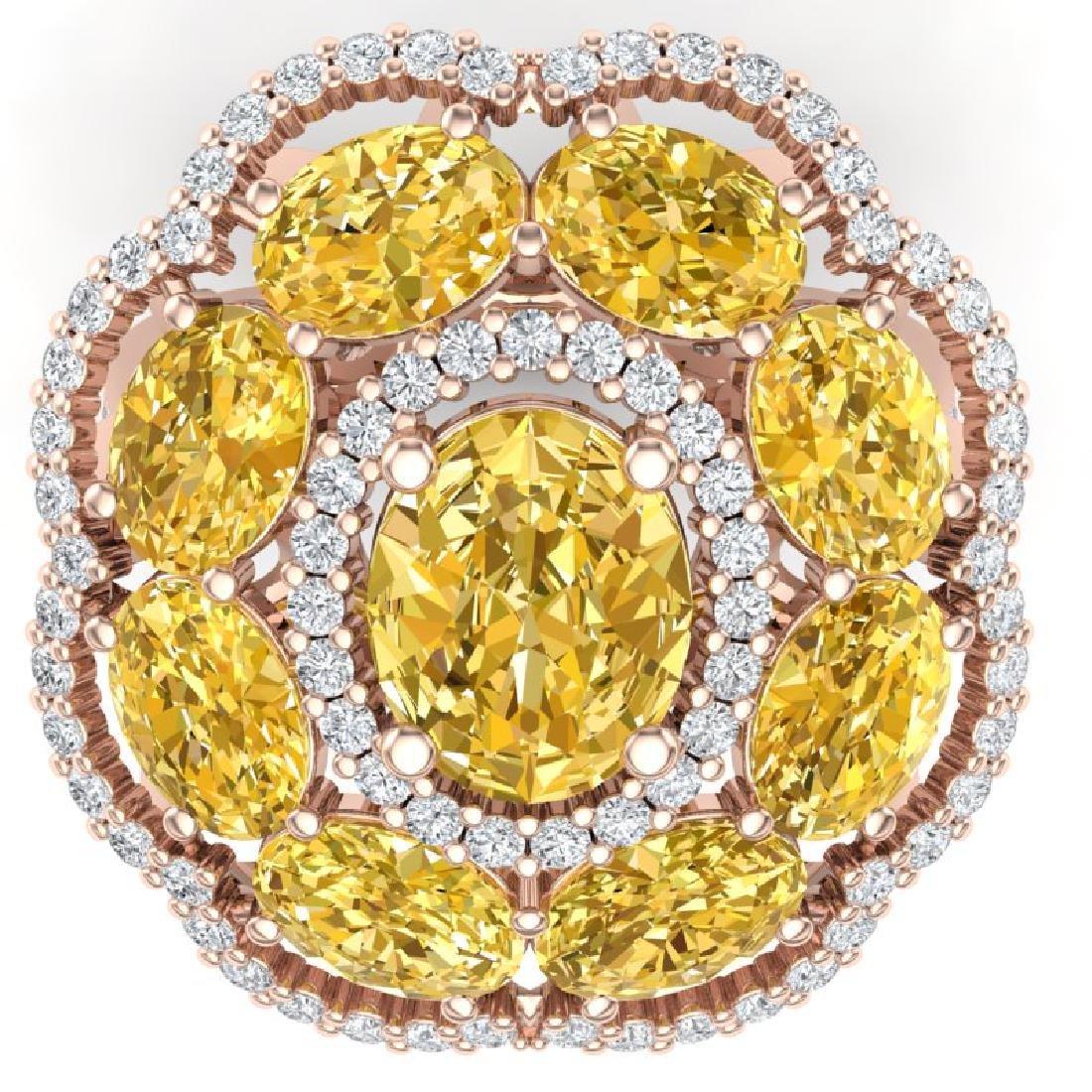13.71 CTW Royalty Canary Citrine & VS Diamond Ring 18K - 2