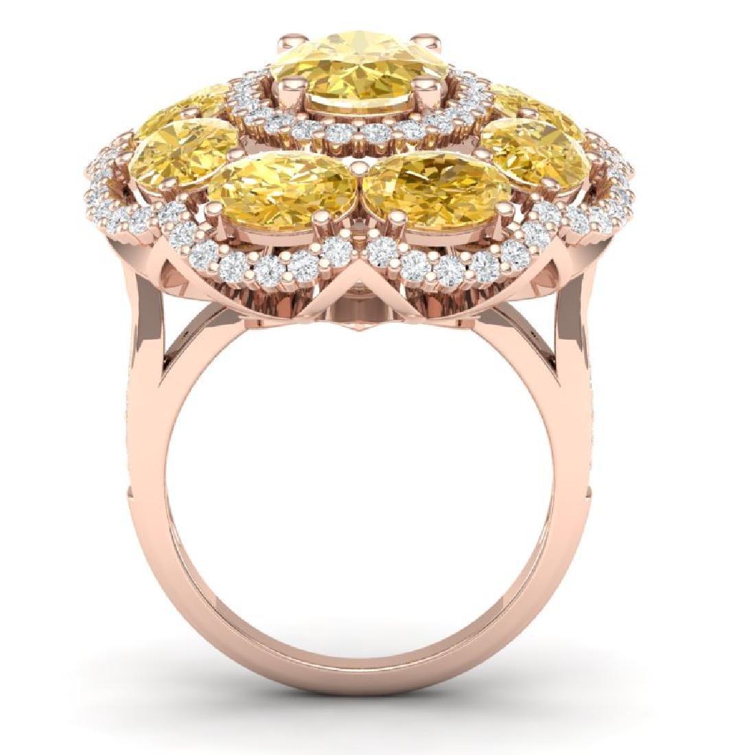 13.71 CTW Royalty Canary Citrine & VS Diamond Ring 18K - 3