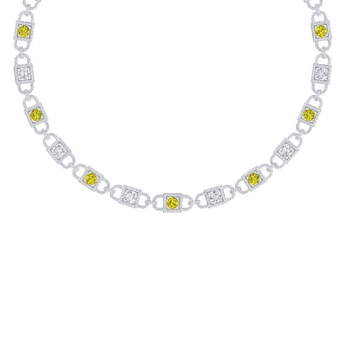 20 CTW SI/I Fancy Yellow And White Diamond Necklace 18K