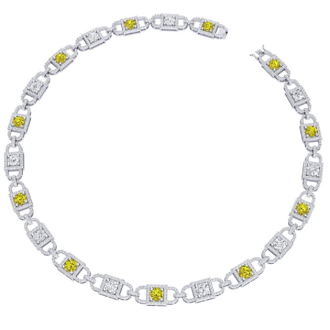 20 CTW SI/I Fancy Yellow And White Diamond Necklace 18K - 3