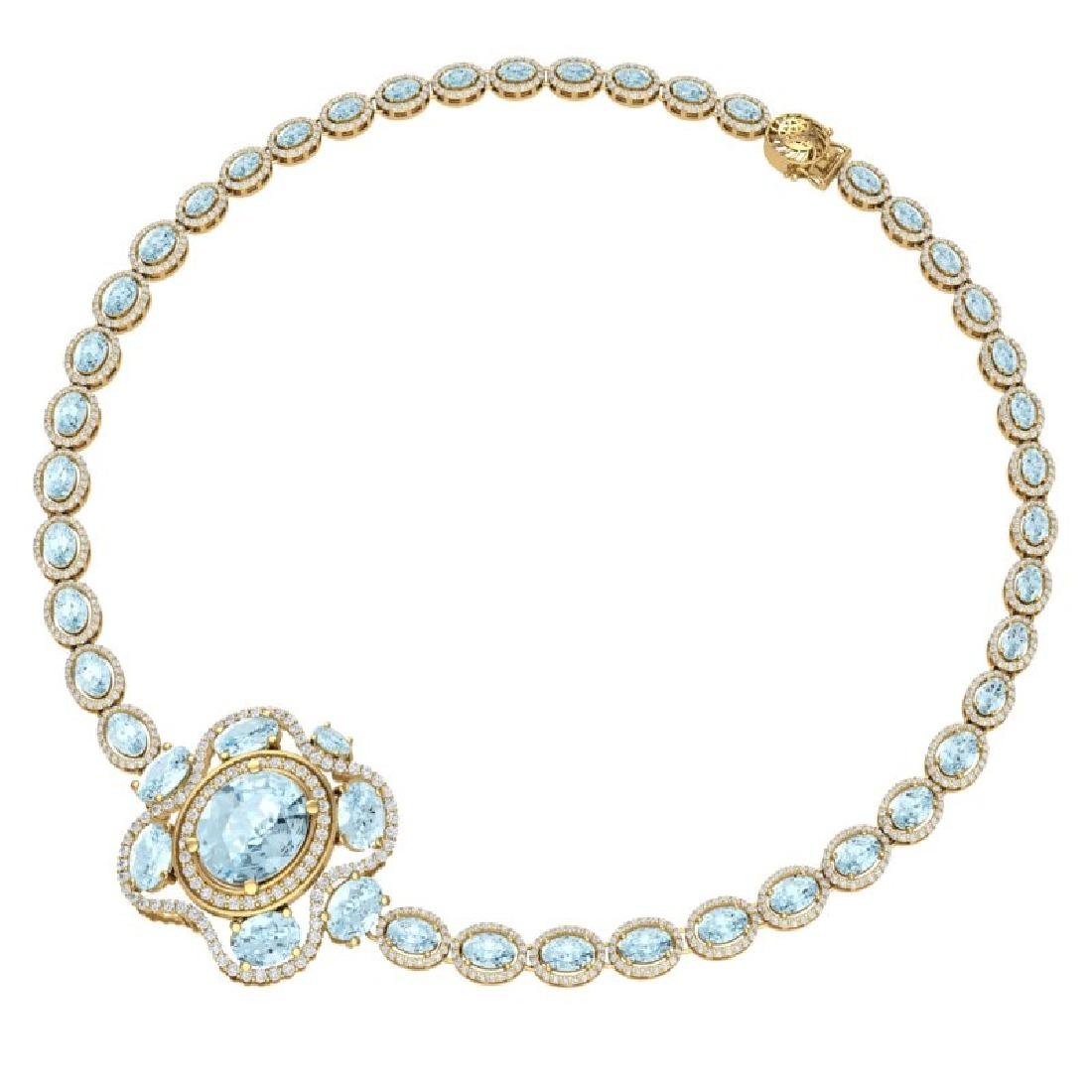 47.72 CTW Royalty Sky Topaz & VS Diamond Necklace 18K - 3