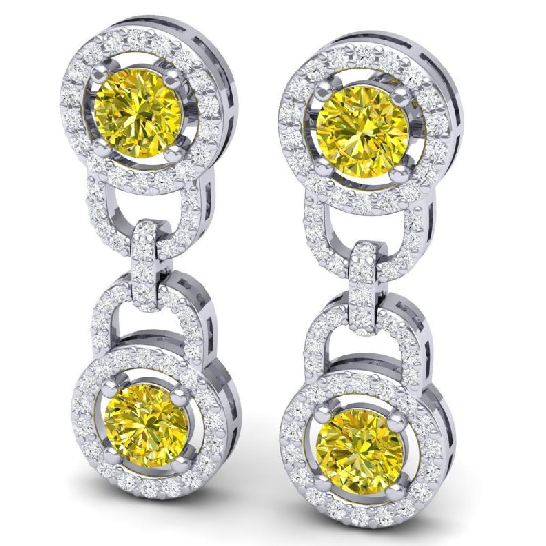 4 CTW SI/I Fancy Yellow And White Diamond Earrings 18K - 2
