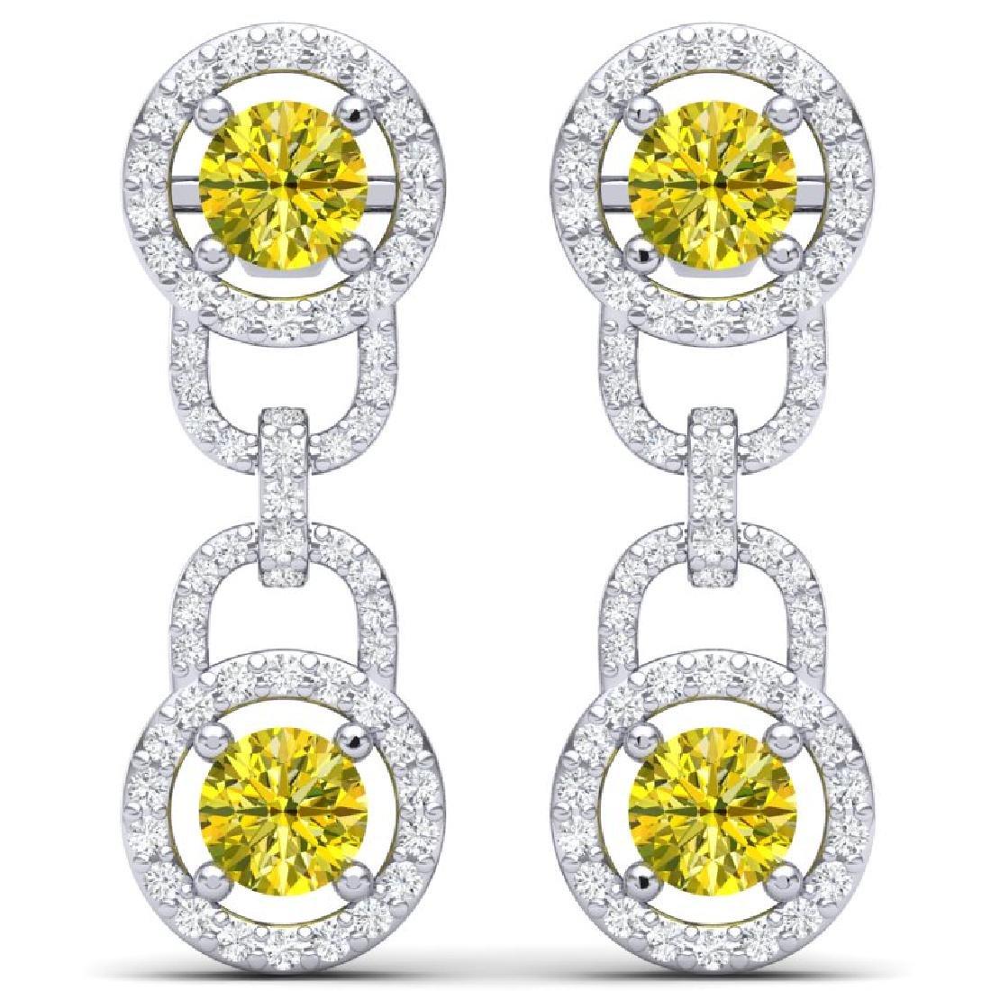 4 CTW SI/I Fancy Yellow And White Diamond Earrings 18K - 3