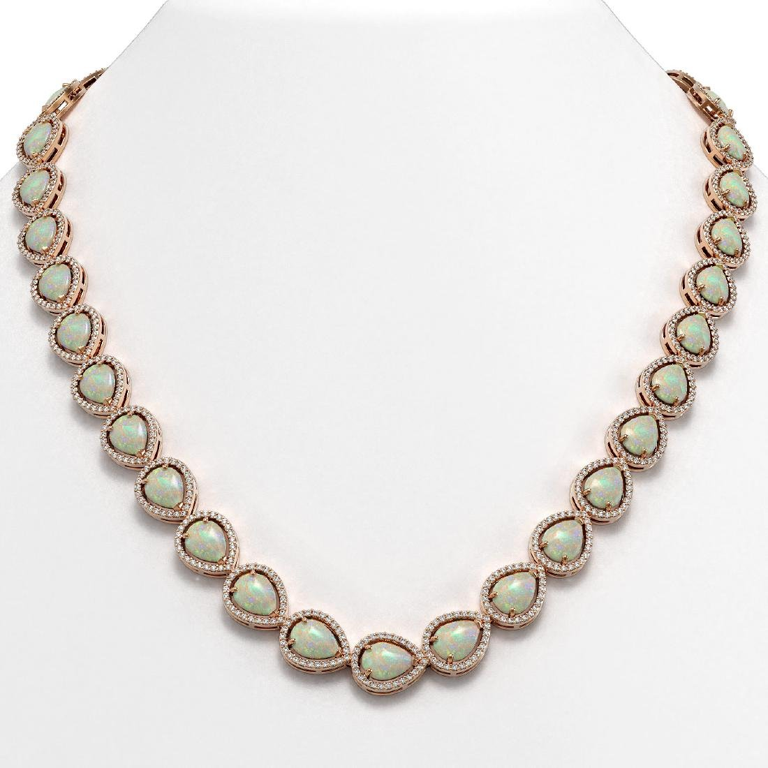 36.48 CTW Opal & Diamond Halo Necklace 10K Rose Gold