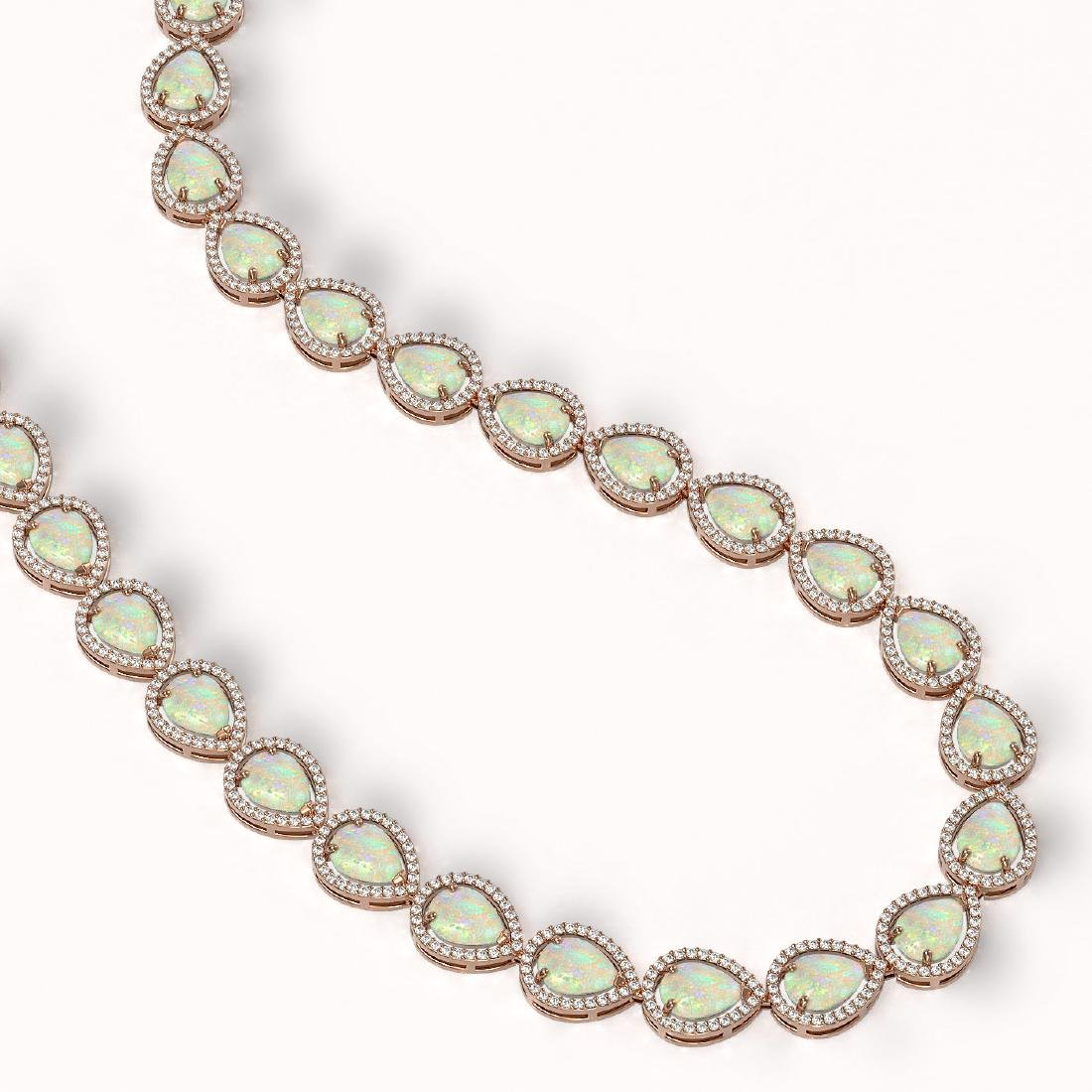 36.48 CTW Opal & Diamond Halo Necklace 10K Rose Gold - 2