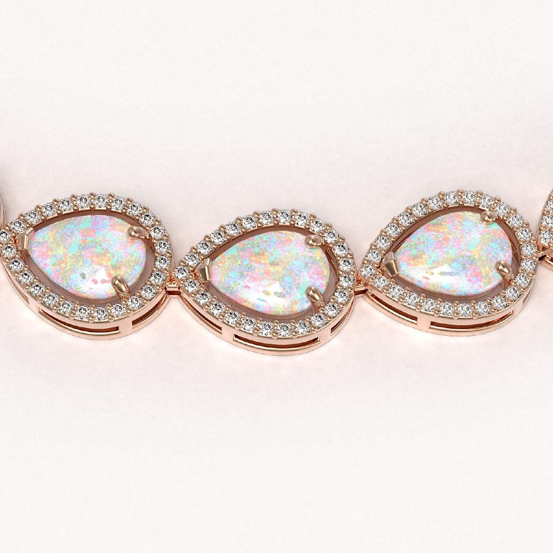 36.48 CTW Opal & Diamond Halo Necklace 10K Rose Gold - 3