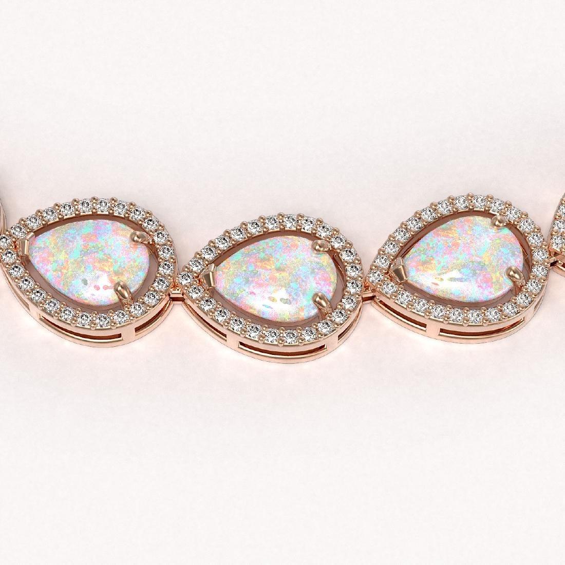 36.48 CTW Opal & Diamond Halo Necklace 10K Rose Gold - 3
