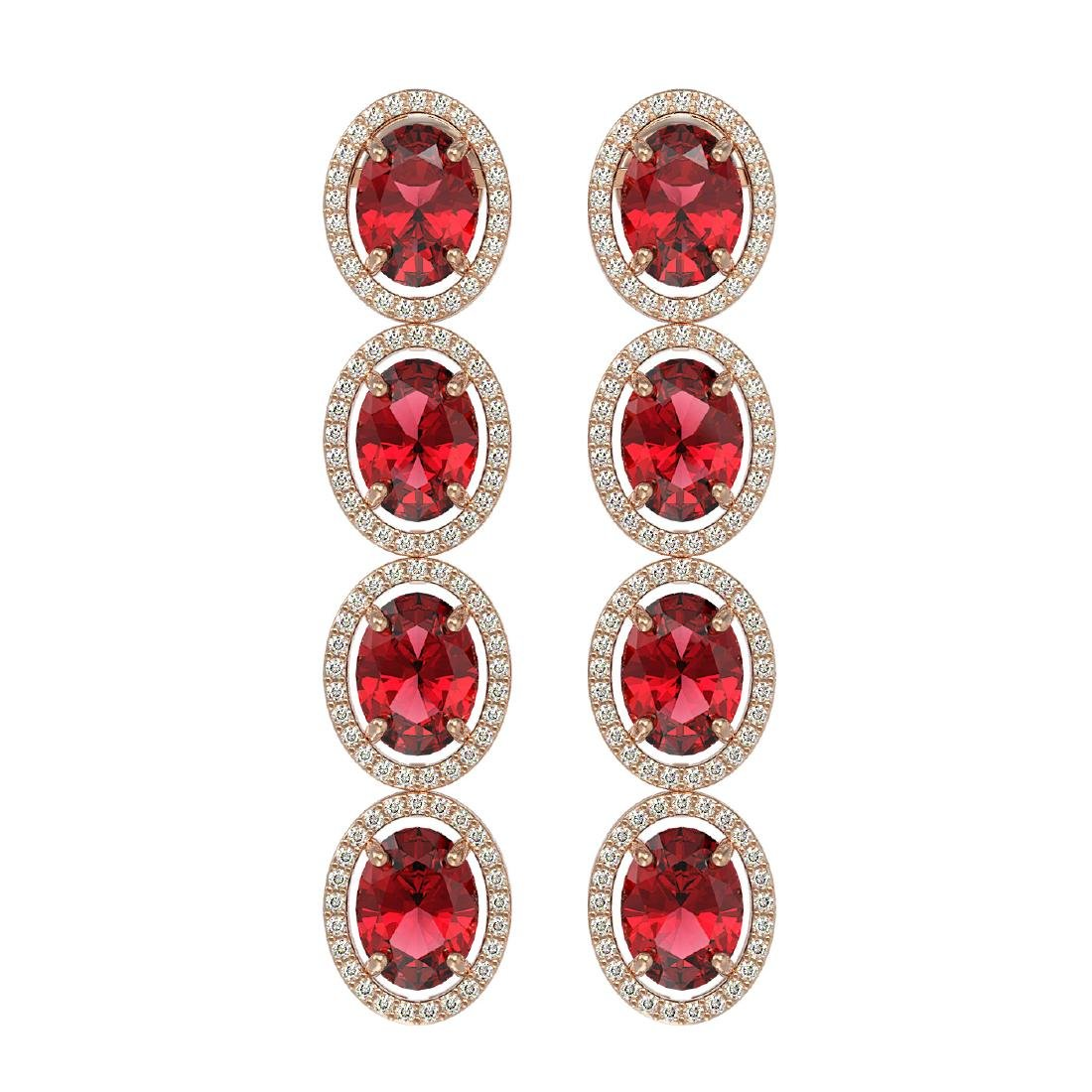 11.8 CTW Tourmaline & Diamond Halo Earrings 10K Rose