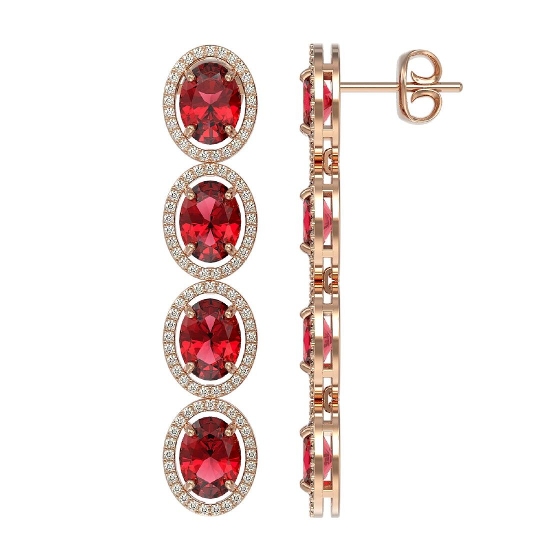 11.8 CTW Tourmaline & Diamond Halo Earrings 10K Rose - 2