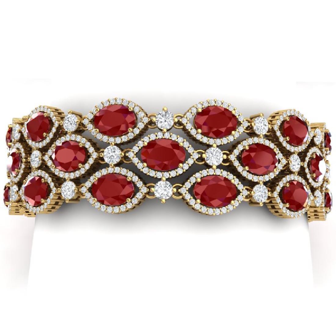 47.84 CTW Royalty Ruby & VS Diamond Bracelet 18K Yellow