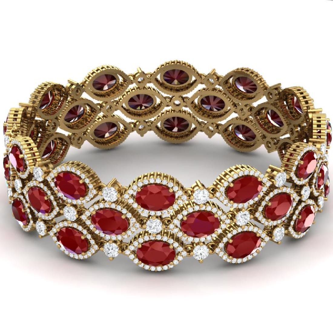 47.84 CTW Royalty Ruby & VS Diamond Bracelet 18K Yellow - 3