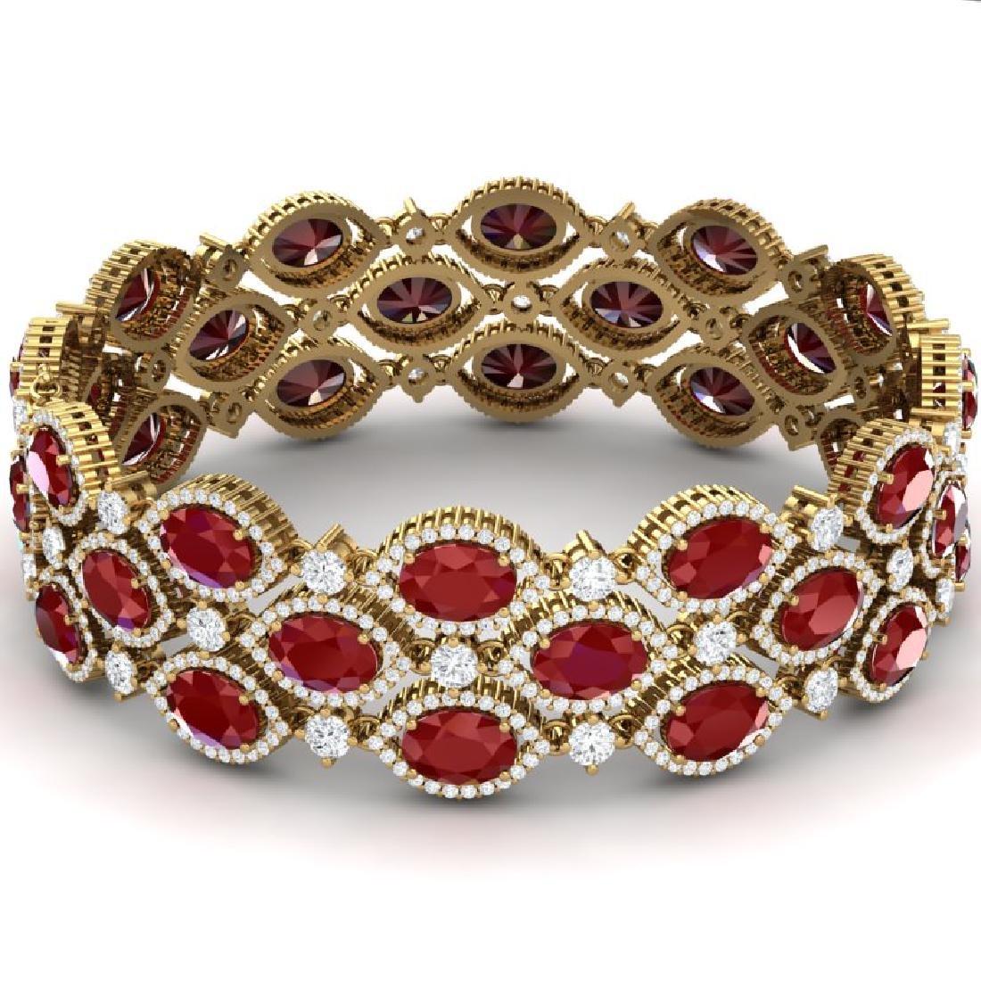 47.84 CTW Royalty Ruby & VS Diamond Bracelet 18K Yellow - 3