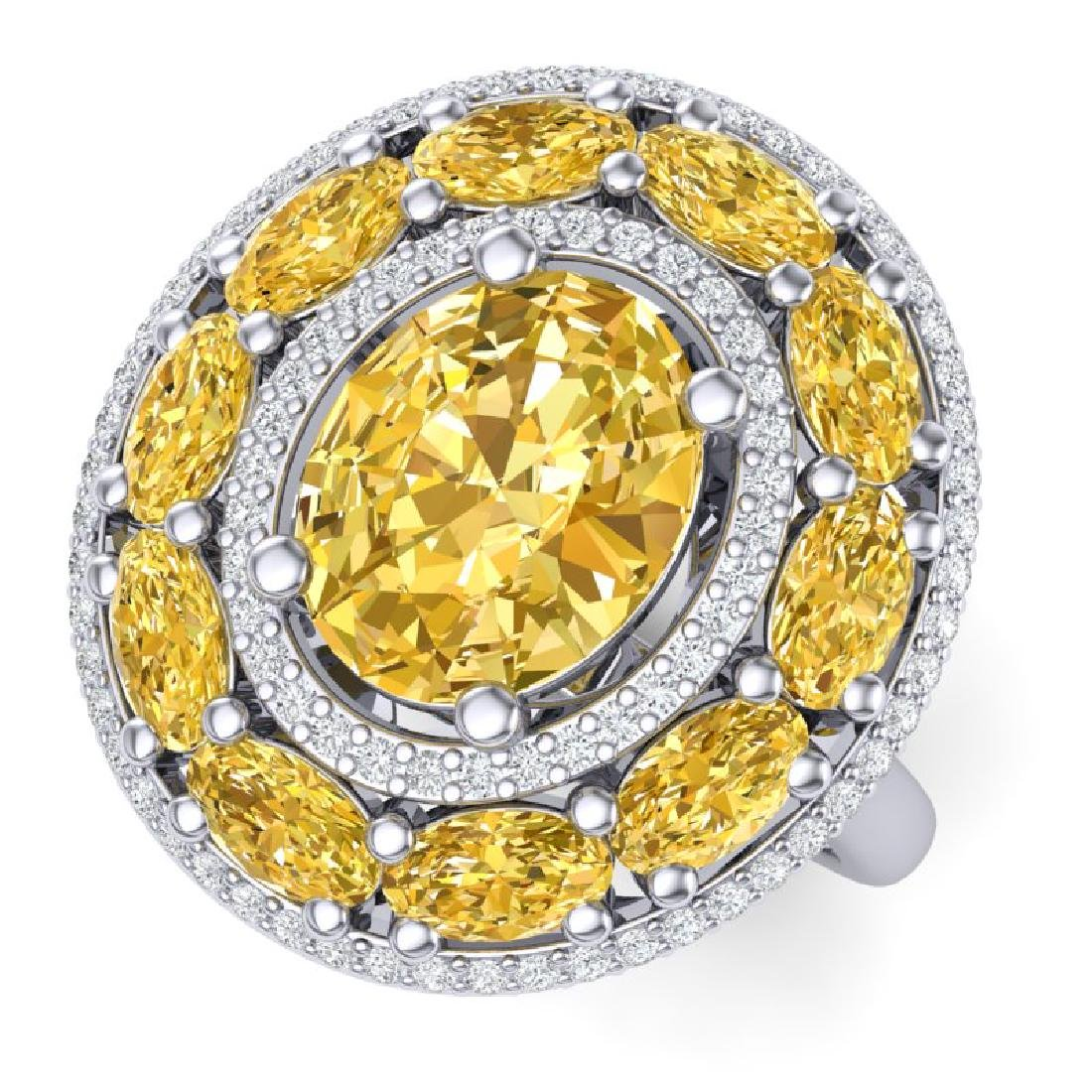 7.21 CTW Royalty Canary Citrine & VS Diamond Ring 18K