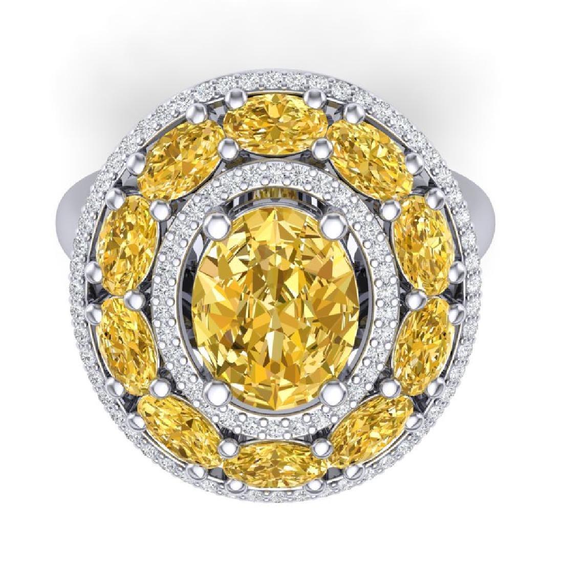 7.21 CTW Royalty Canary Citrine & VS Diamond Ring 18K - 2