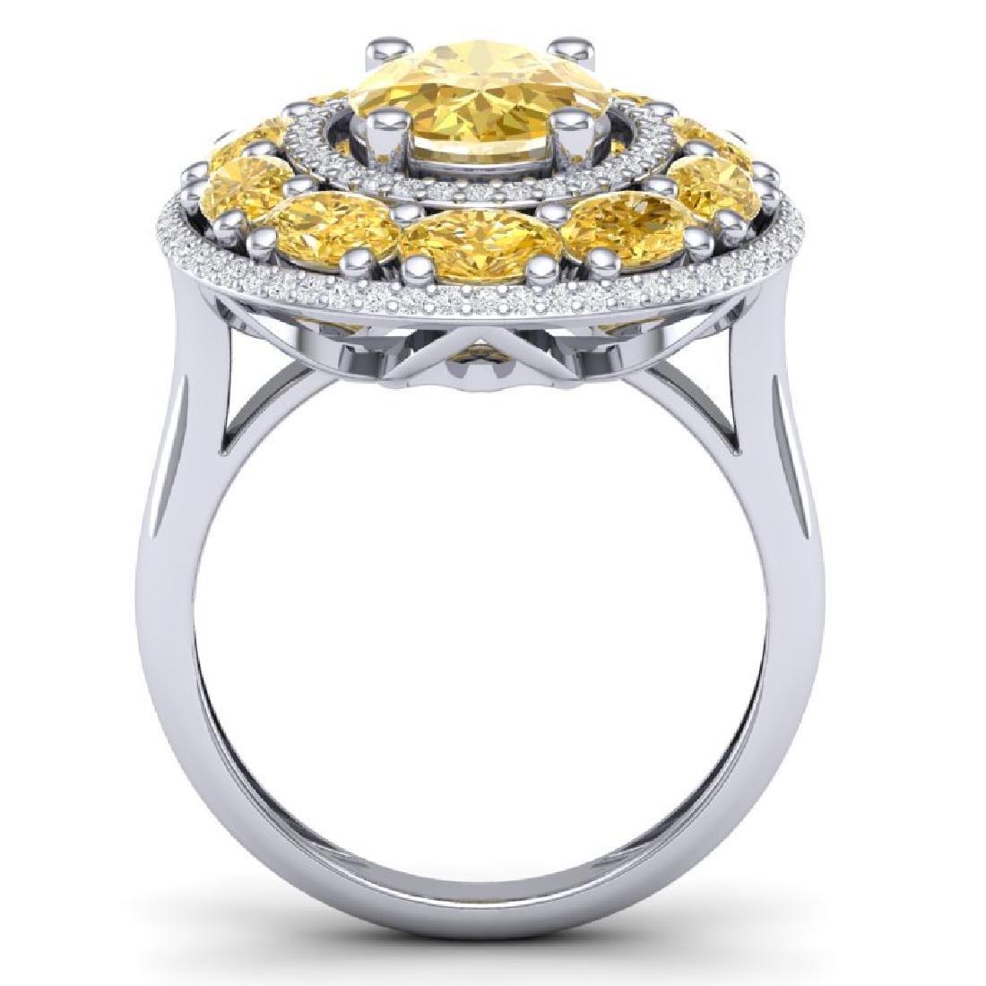 7.21 CTW Royalty Canary Citrine & VS Diamond Ring 18K - 3