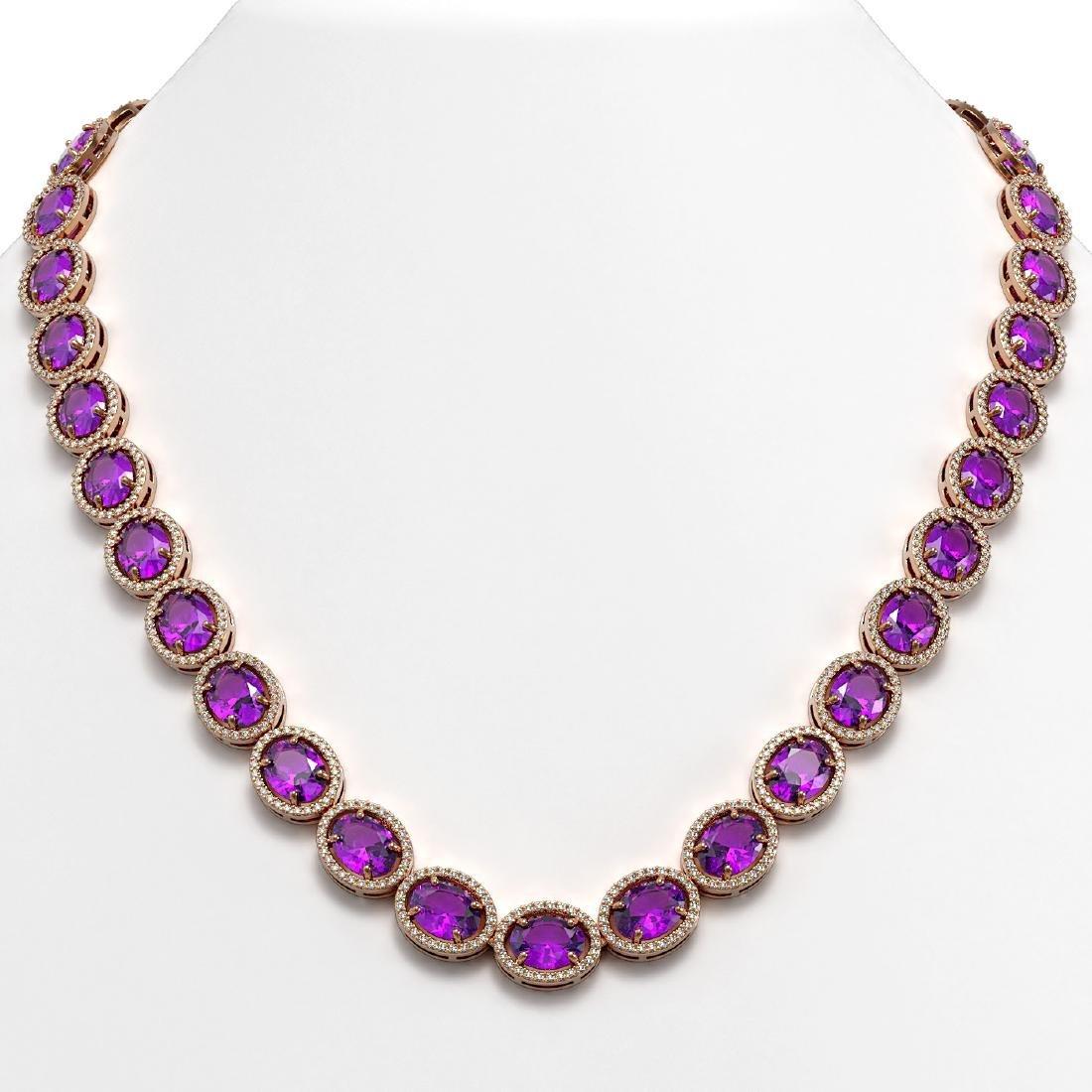 57.07 CTW Amethyst & Diamond Halo Necklace 10K Rose