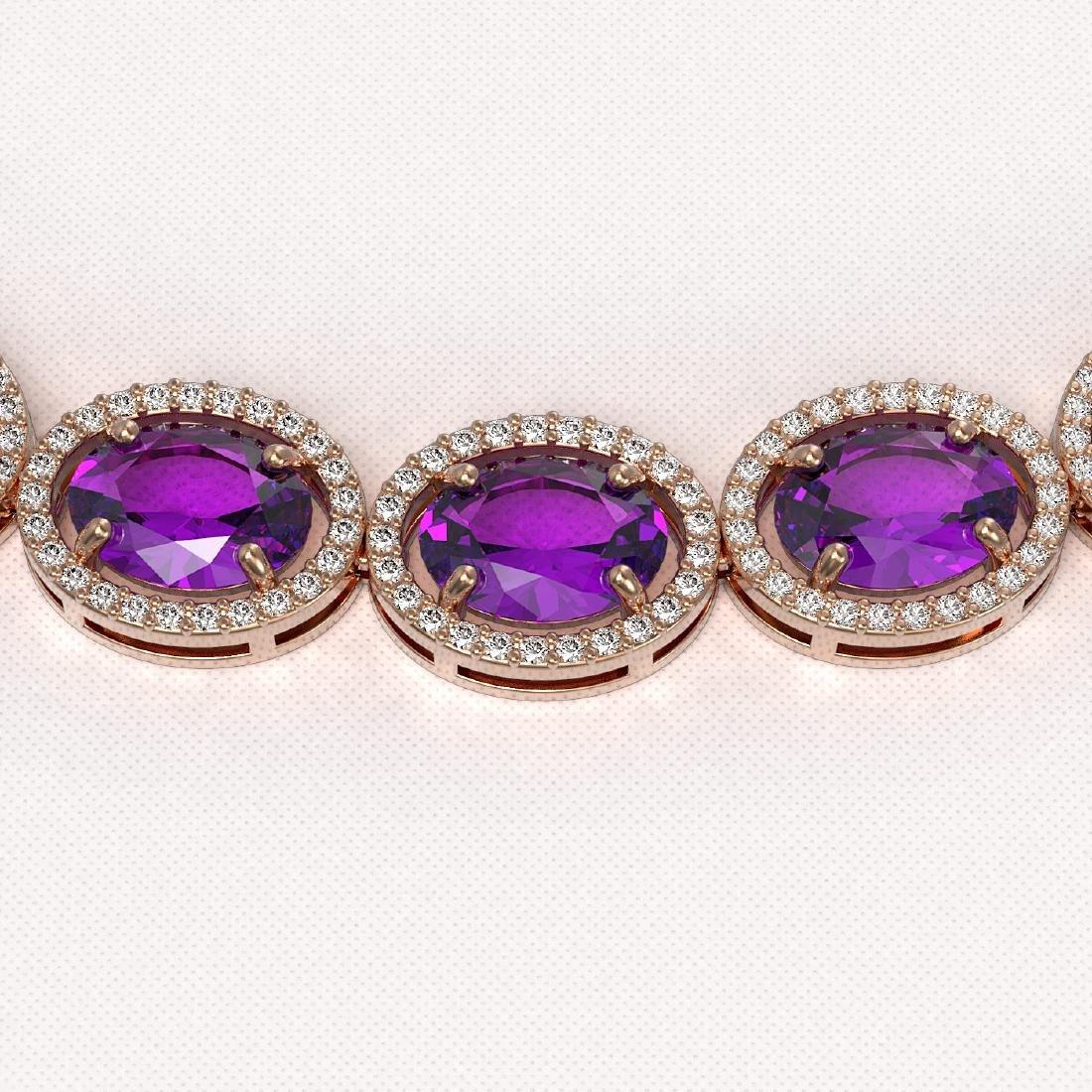 57.07 CTW Amethyst & Diamond Halo Necklace 10K Rose - 3