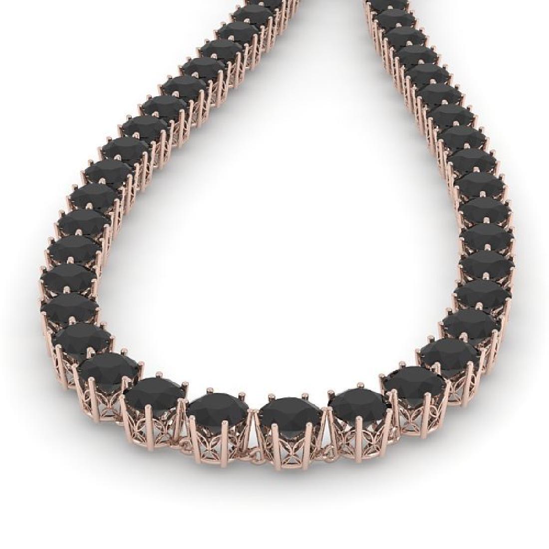 36 CTW Certified Black VS Diamond Necklace 18K Rose - 2