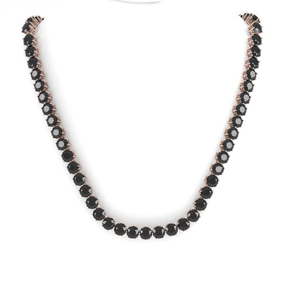 36 CTW Certified Black VS Diamond Necklace 18K Rose - 3