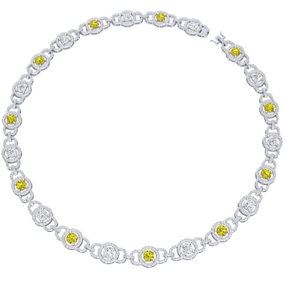 25 CTW SI/I Fancy Yellow And White Diamond Necklace 18K - 3