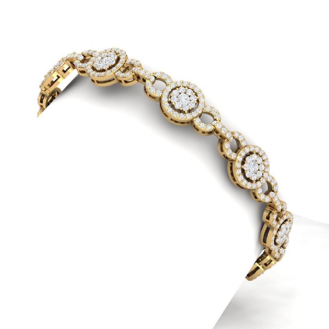 5 CTW Certified SI/I Diamond Halo Bracelet 18K Yellow