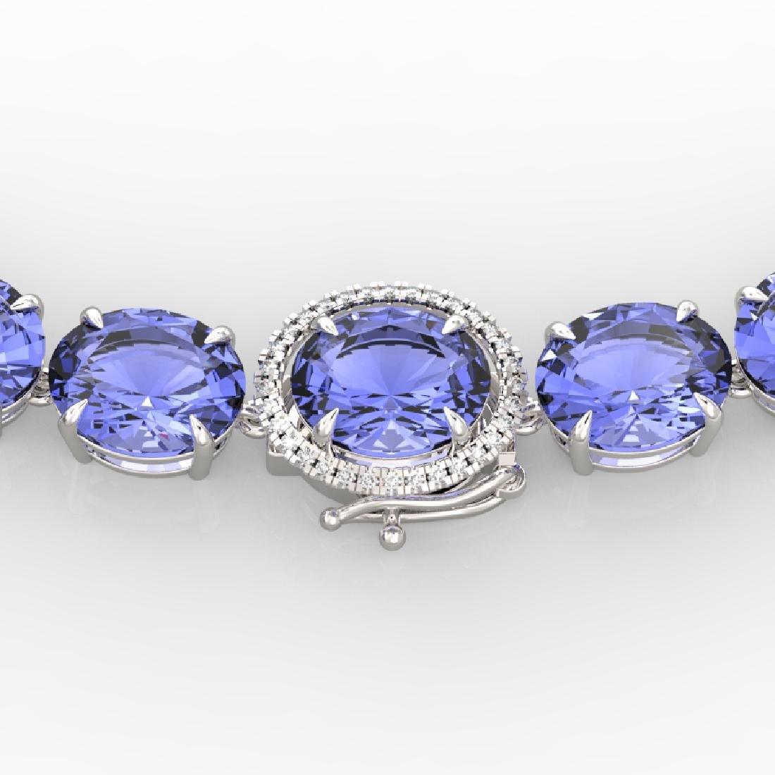 170 CTW Tanzanite & VS/SI Diamond Necklace 14K White
