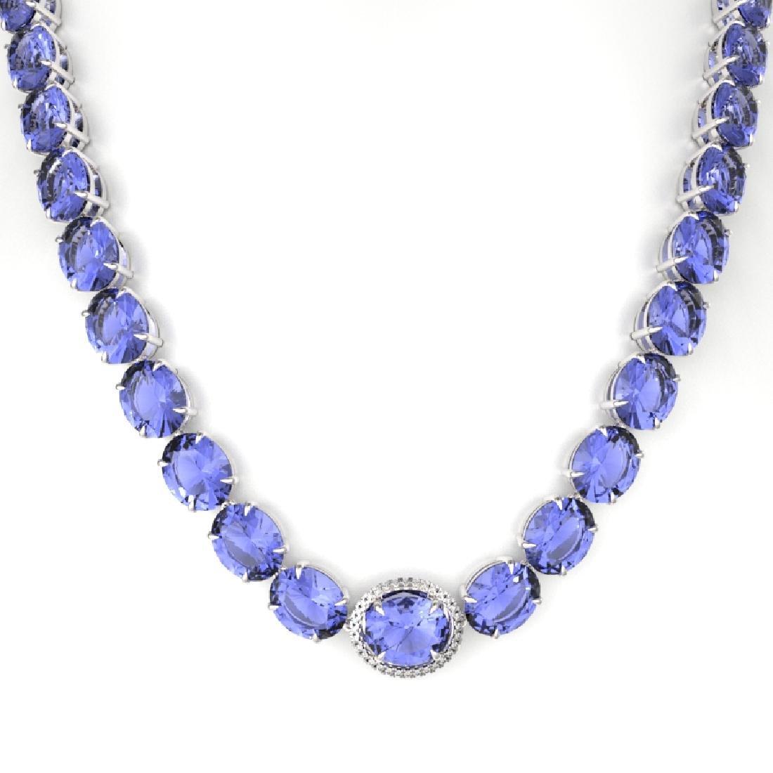 170 CTW Tanzanite & VS/SI Diamond Necklace 14K White - 2
