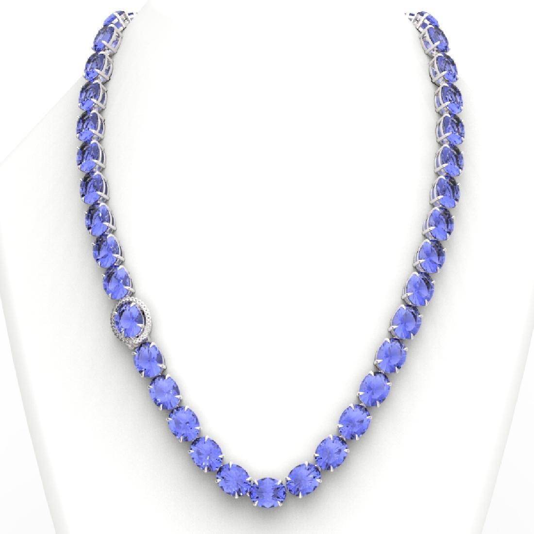 170 CTW Tanzanite & VS/SI Diamond Necklace 14K White - 3