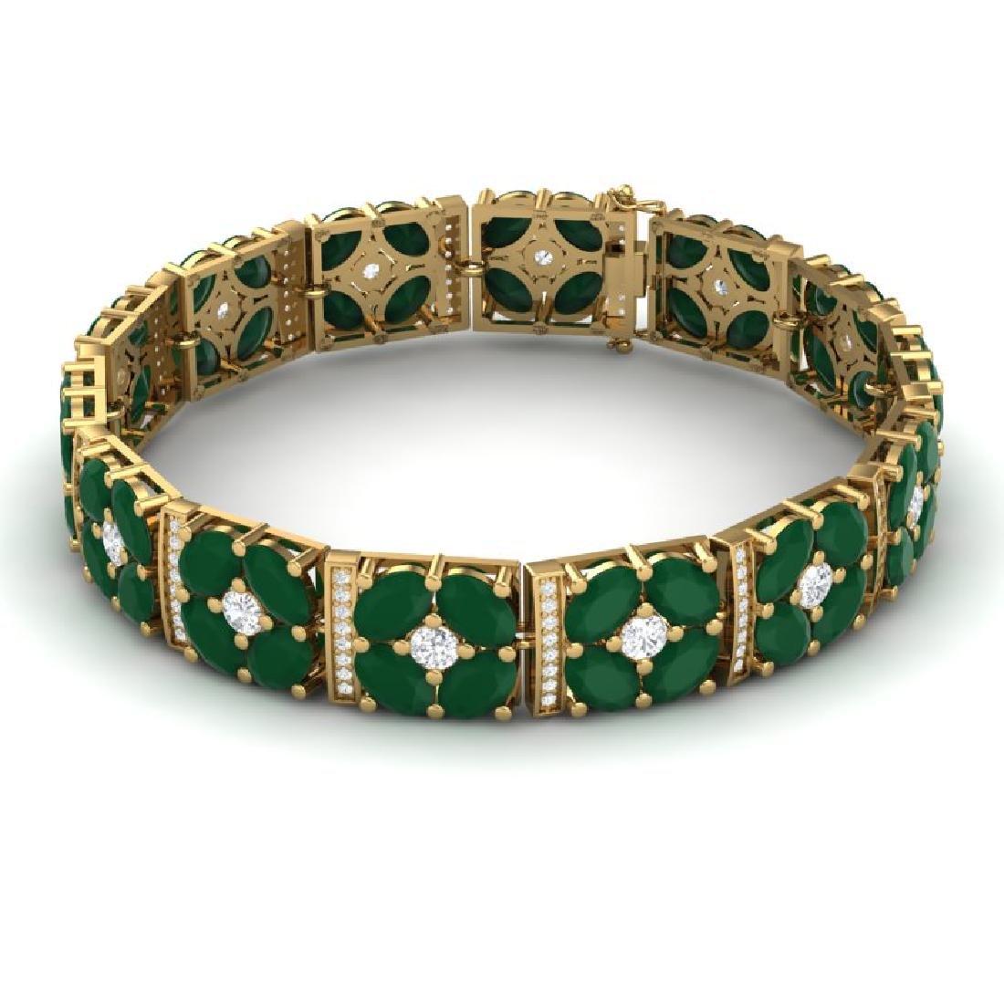 48.04 CTW Royalty Emerald & VS Diamond Bracelet 18K - 3
