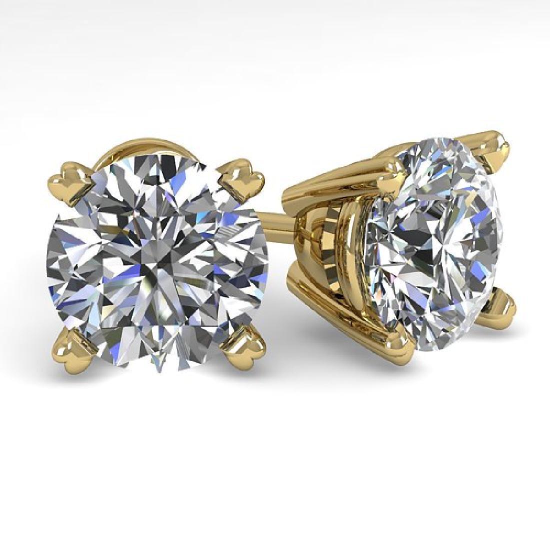 3 CTW Certified VS/SI Diamond Stud Earrings 14K Yellow