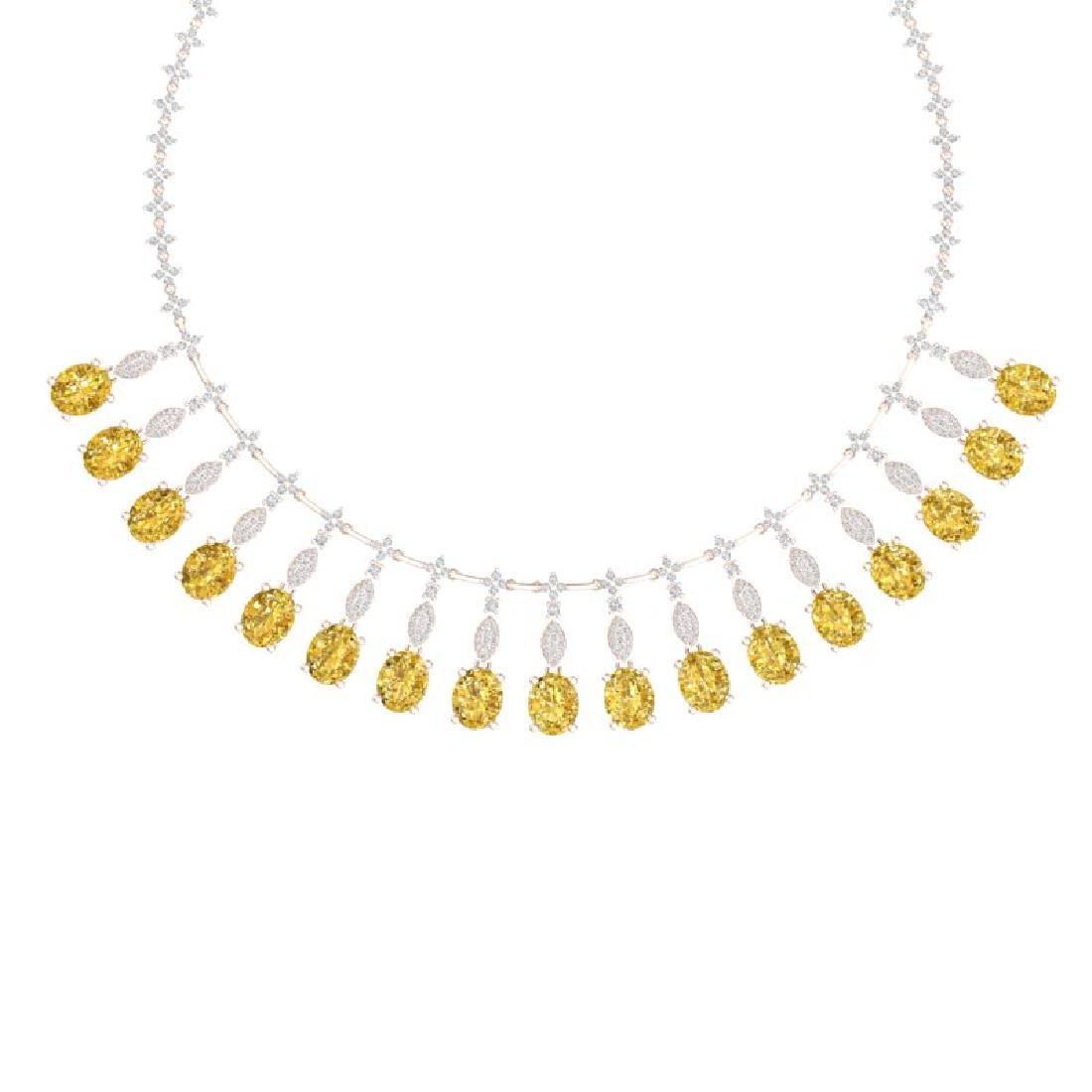 50.16 CTW Royalty Canary Citrine & VS Diamond Necklace - 2