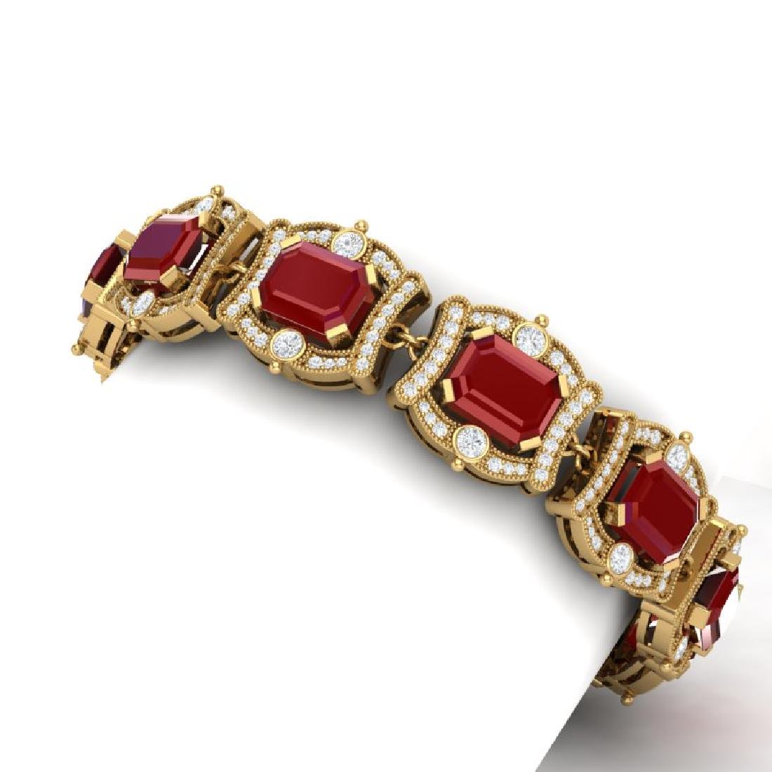 43.87 CTW Royalty Ruby & VS Diamond Bracelet 18K Yellow - 2